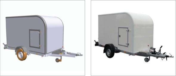 Detailní návrh jednonápravového skříňového přívěsu Aero Husky ve VariCADu a výsledný produkt na fotografii.