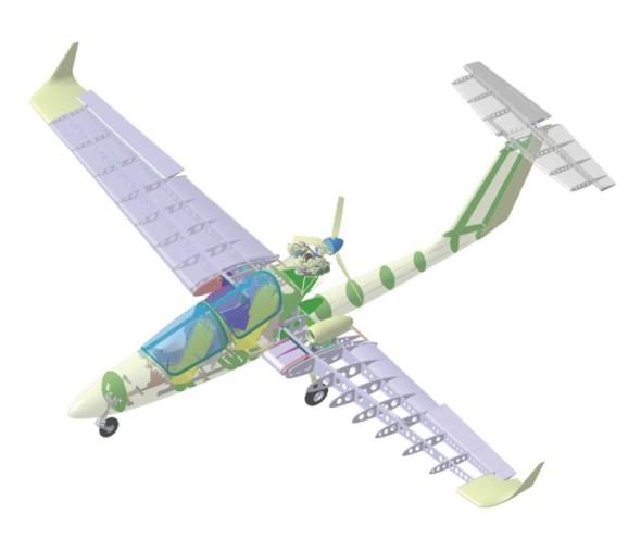 Počítačová podpora při navrhování letadel byla využita již na letounu L-300 v 60. letech. Současná konstrukce se již bez CAx softwaru vůbec neobejde. Na obrázku je CAD model experimentálního českého letounu Marabu.