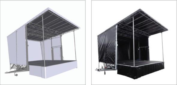 V nabídce firmy Vezeko je například největší mobilní pódium v České republice, jehož velikost v rozloženém stavu činí až 6 × 6 metru.