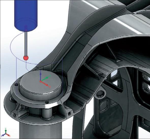 Modul Sonda poslouží pro všechna mezioperační měření na stroji. Je možné použít ho též k naprogramování nastavení nulové pozice pro každé upnutí dílu.