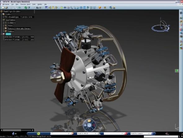 Návrh letadlového motoru zpracovaný v softwaru Catia V6.