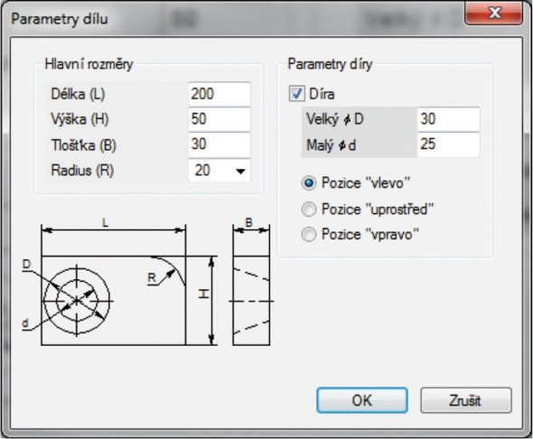 Dialogové okno pro ovládání parametrizovaného modelu nebo výkresu. Ilustrovaný postup najdete na webu www.caxmix.cz.