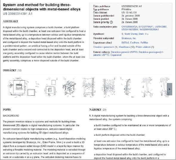 S. Scott Crump je autorem mnoha patentů souvisejících s technologiemi 3D tisku. Vyobrazený dokument patří k těm novějším a popisuje stavbu kovových dílů.
