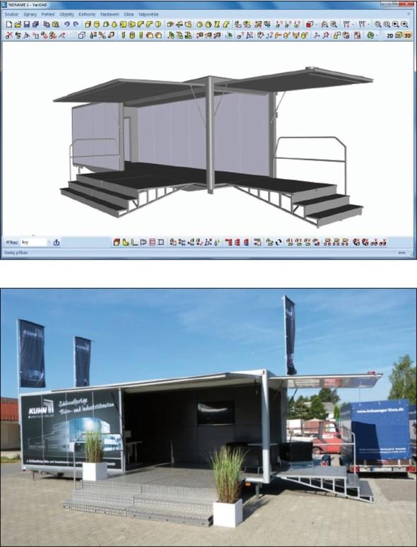 Přívěs pro německou stavební společnost poslouží jako prezentační stánek se zázemím pro výdej občerstvení.