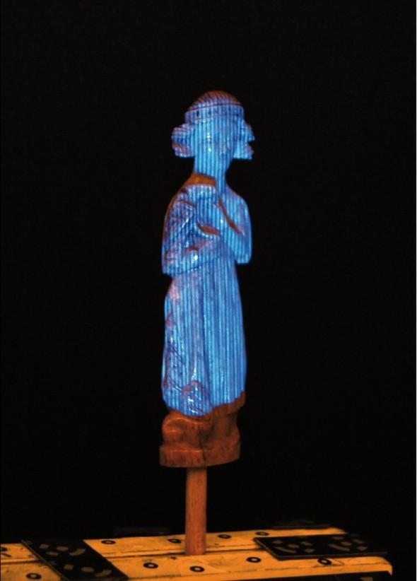 Záběr ze 3D skenování modrým světlem skeneru Atos.