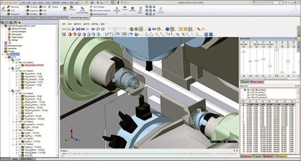 SolidCAM podporuje simulaci kinematiky všech operací soustružení a frézování na frézařsko-soustružnických strojích.