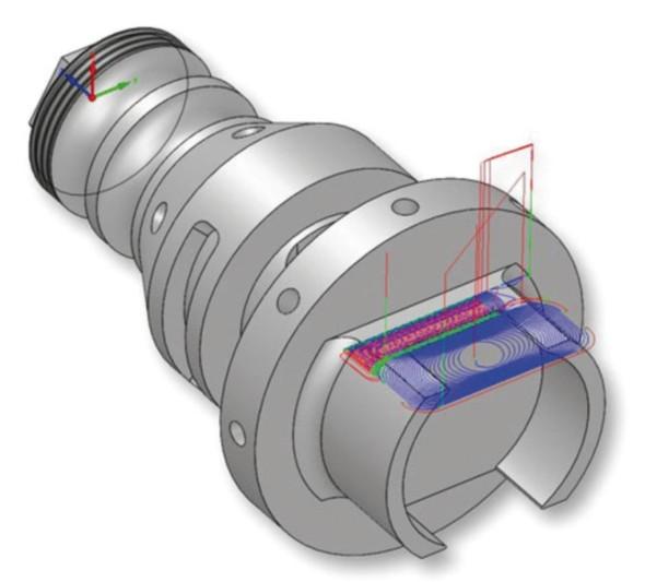 Při výrobě frézařsko-soustružnické součásti pomocí 2D a 3D frézovacích operací nachází uplatnění oceňovaná technologie iMachining.