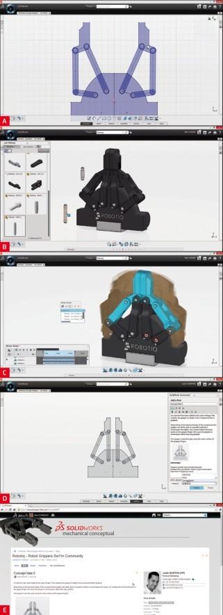 Ukázky pracovního prostředí aplikace SolidWorks Mechanical Conceptual zachycují nástroje pro 2D skici s kinematikou (A), 3D modely využívající katalogové prvky (B), vyhodnocování kinematických simulací v prostoru (C), komunikaci mezi spolupracovníky, kteří se na tvorbě modelu podílejí přímo v CAD prostředí (D) a nakonec sdílení informací o vyvíjeném modelu v profesionální sociální síti (E).
