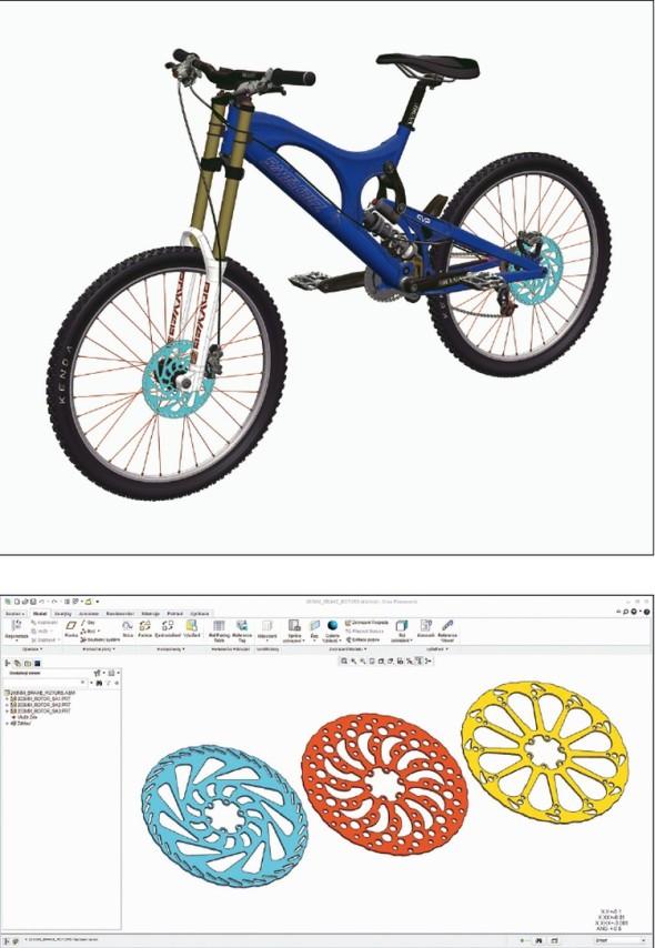 Příkladem jednoduššího řešení výrobkových variant je tvar kotoučové brzdy u horského kola.