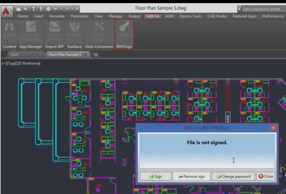 Aplikace DWGsign přidává do souboru permanentní neviditelnou značku sunikátním podpisem (jménem) autora. Foto: Autodesk