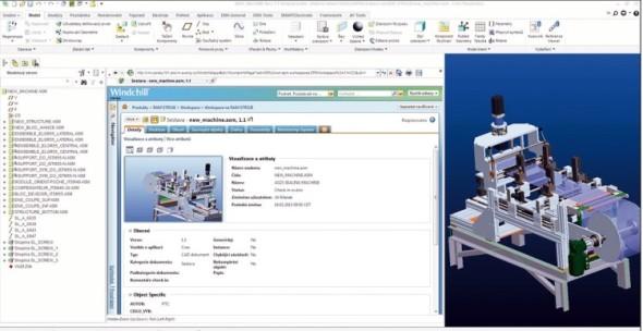 Systém pro správu dat PTC Windchill PDM Essentials je integrován přímo do rozhraní CAD systému PTC Creo.