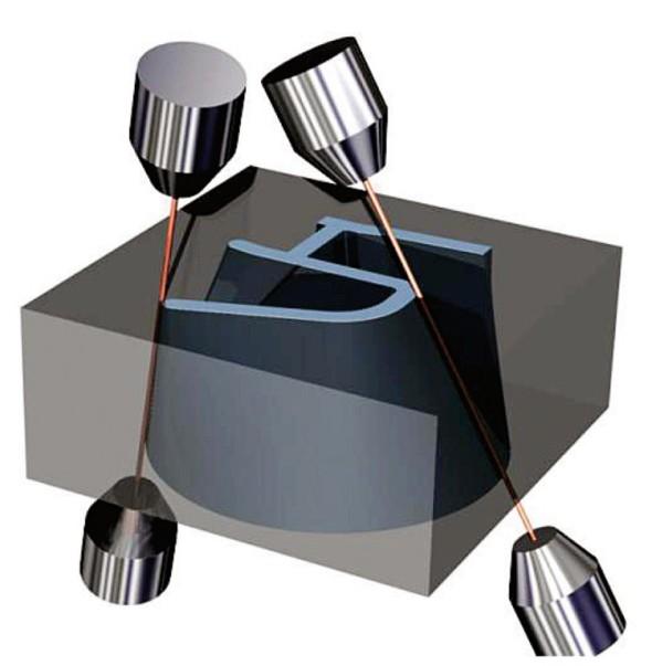 Simulace řezání materiálu drátem v PowerShape. Foto: Delcam