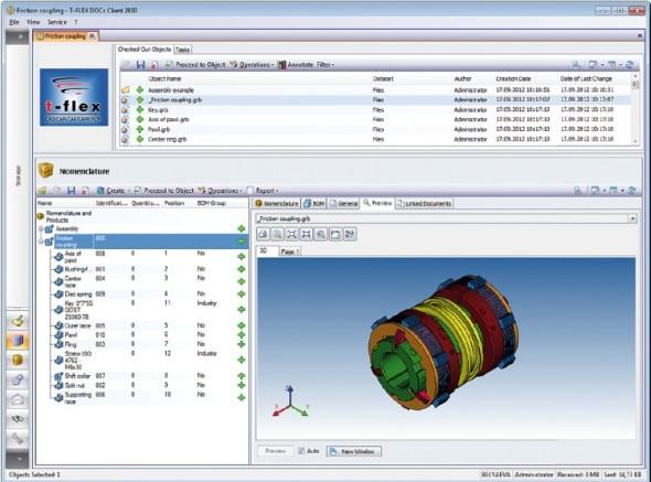 Pracovní prostředí systému T-Flex Docs pro správu dat.