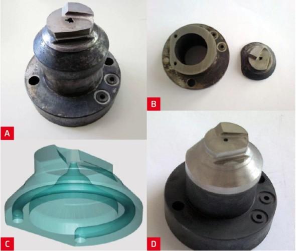 Ukázka opravy dílu nahrazením poškozené části novým prvkem vytvořeným metodou DMLS. Narušené sedlo jehly ve vložce horkého vtoku (obr. A), bylo odděleno drátořezem (obr. B), v CADu zrekonstruována jeho základna i část s chladicím kanálem (obr. C) a výsledkem je opravená vložka (obr. D).