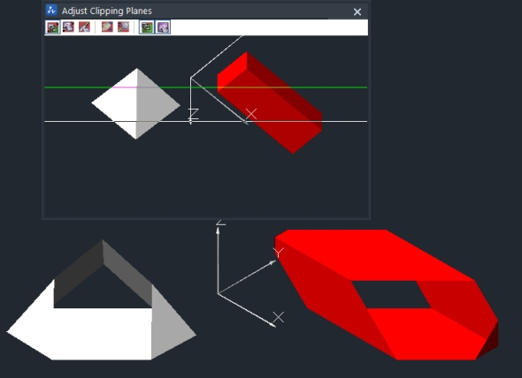Spuštěný interaktivní 3D režim po otevření okna Adjust Clipping Planes vřešení ZwCAD+ 2015. Foto: ZwSoft
