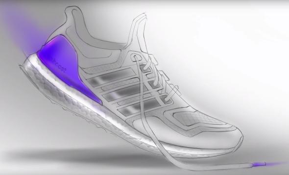 Grafický návrh běžecké boty Adidas Ultra Boost.