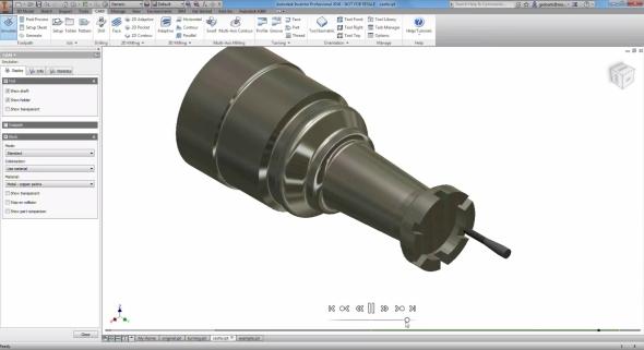 Ukázka programování soustruhu spoháněnými nástroji. Obrázek: Autodesk