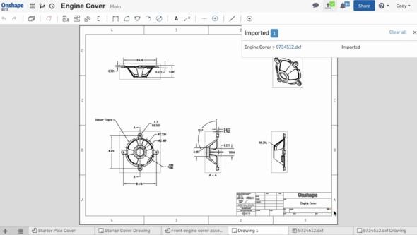 2D výkresovou dokumentaci lze ukládat do populárních formátů DWG, DXF a PDF. Obr.: Onshape