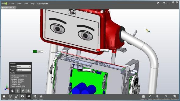 Vprohlížeči digitálních dat eDrawing můžete nově použít základní funkce pro měření