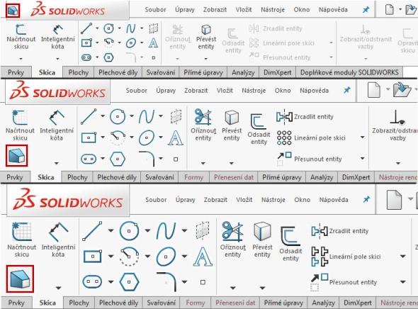 Provedení malých (nahoře), středních (uprostřed) a velkých tlačítek v SOLIDWORKSu 2016