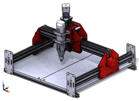 Stolní CNC frézka Shapeoko 2 se skládá ze tří vozíků