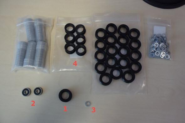 Komponenty pro sestavení kladek a koleček: 1 – kolečko, 2 – ložisko, 3 – kladka, 4 – podložka
