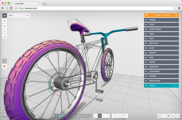Model jízdního kola vprostředí on-line CAD řešení Vectary. Obrázek: Vectary.com