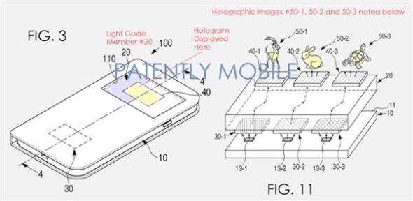 Samsung si nechal patentovat řešení pro tvorbu a zobrazovaní hologramů prostřednictvím chytrých telefonů. Obrázek: Samsung