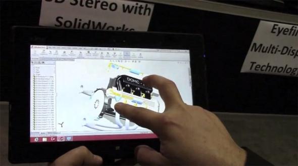Řešení SolidWorks spuštěné na tabletu Microsoft Surface. Foto: Engineering.com