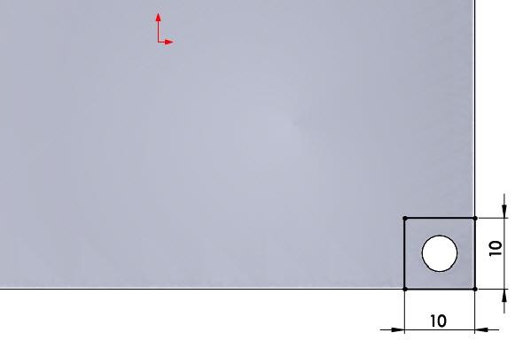 Nakreslete čtverec o rozměrech 10 × 10 mm. Pravý dolní roh čtverce je sjednocený spravým dolním rohem vysunutého modelu