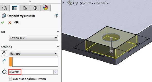 Příkazem Odebrání vysunutím odeberte čtverec do vzdálenosti 3 mm