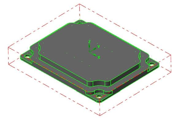 Vložený model supravenými souřadnicemi počátku souřadného systému a definovaným polotovarem