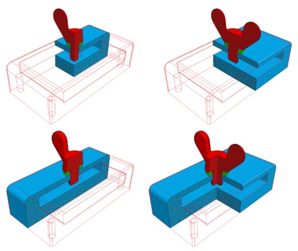 Čtvrtinový řez součástí (vlevo nahoře), poloviční řez (vpravo nahoře a vlevo dole) a tříčtvrtinový řez (vpravo dole)