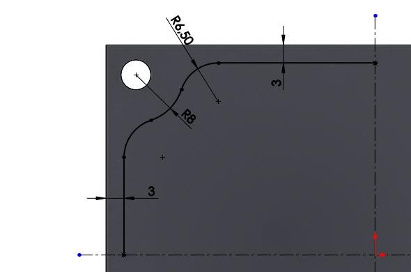 Nakreslete znázorněný náčrt pomocí přímek a oblouků a zakótujte jej