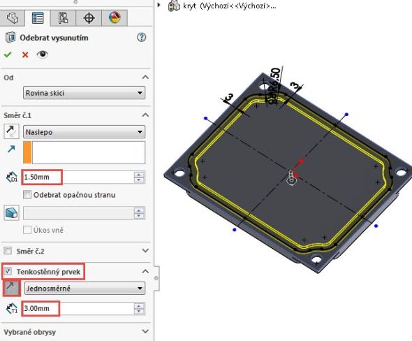 Nastavte hloubku odebrání 1,5 mm a aktivujte možnost Tenkostěnný prvek. Změňte směr odebrání směrem dovnitř a nastavte tloušťku prvku 3 mm