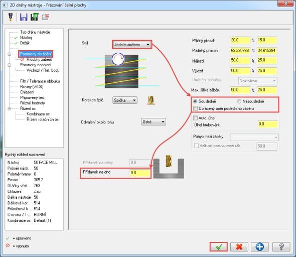 Vzáložce Parametry nástroje upravte parametry strategie tak, aby bylo frézování provedeno jedním směrem, sousledně a snulovým přídavkem na dno. Deaktivujte funkci Obrácený směr posledního záběru