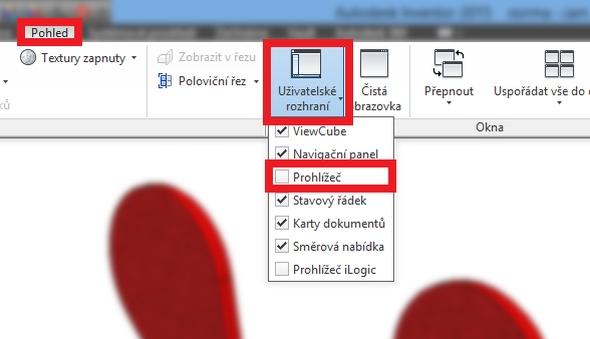 Zobrazení stromu historie provedete aktivováním položky Prohlížeč v záložcePohled> Uživatelské rozhraní