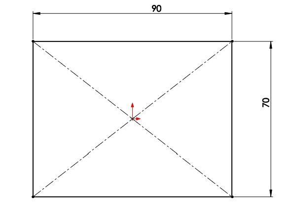 Nakreslete a zakótujte obdélník srozměry 90 × 70 mm