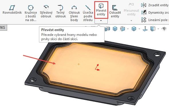 Označte plochu zvýrazněnou červenou šipkou a vyberte příkaz Převést entity