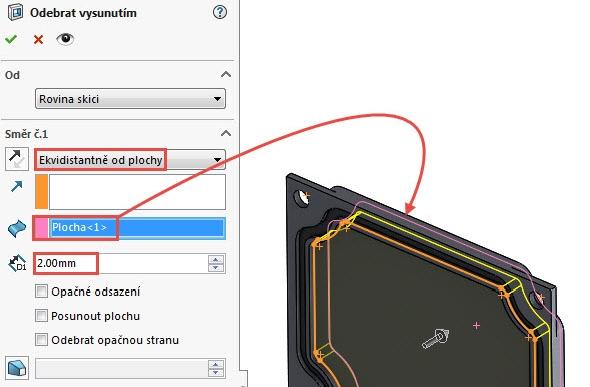 Převedeným náčrtem odebereme materiál. Vyberte příkaz Odebrání vysunutím a vpoli Směr č. 1 nastavte možnost Ekvidistantně od plochy. Označte zadní stranu modelu (znázorněna červenou šipkou) a zvolte velikost odsazení 2 mm