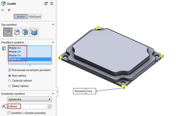 Zaoblete hrany modelu poloměrem 3 mm