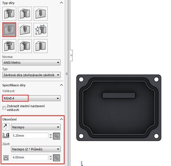 Vyberte příkaz Průvodce dírami a nastavte parametry pro tvorbu díry se závitem o velikost M2×0,4. Ukončení závitu ponechejte ve výchozím nastavení a přejděte do záložky Polohy