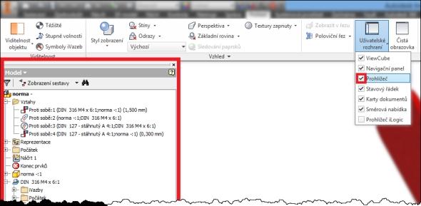 Aktivní pole Prohlížeč, strom historie je zobrazený v grafickém prostředí