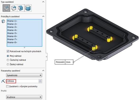 Upravte přechodové hrany na vysunutých prvcích zaoblením o velikosti 2 mm