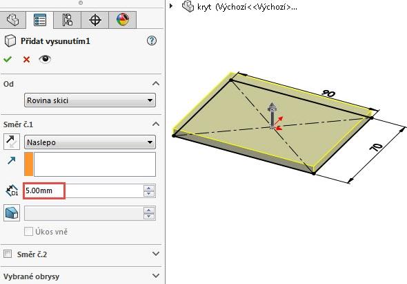 Vysuňte uzavřený náčrt do vzdálenosti 5 mm
