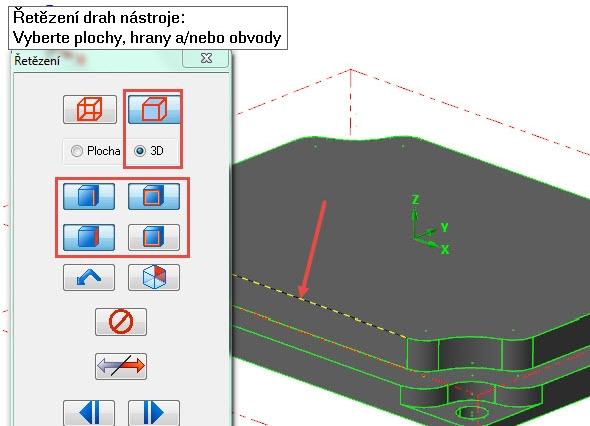 Nastavte výběr řetězení podle obrázku a označte horní hranu zvýrazněnou šipkou