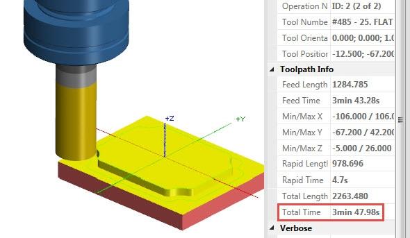 Spustíte-li verifikaci všech drah nástrojů, můžete zjistit celkový čas obrábění