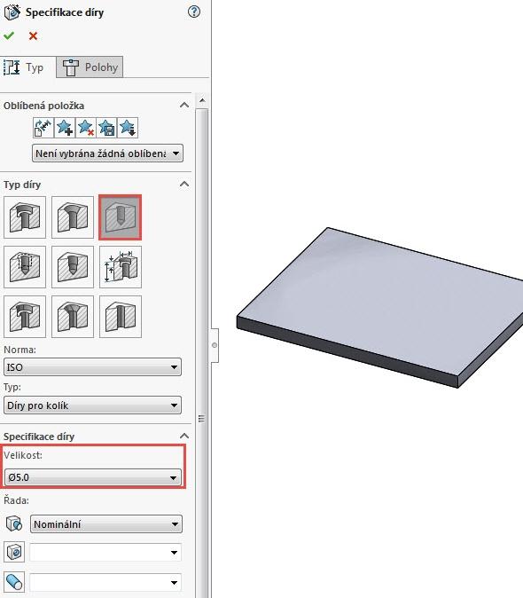 Zvolte typ díry Díra a nastavte velikost 5 mm. Přepněte se do záložky Polohy