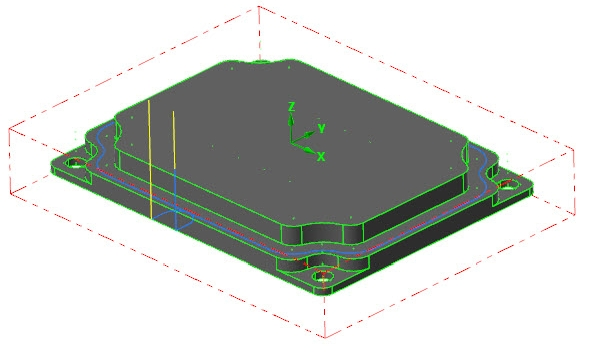 Vygenerovaná trajektorie nástroje pro dokončení kontury první vrstvy