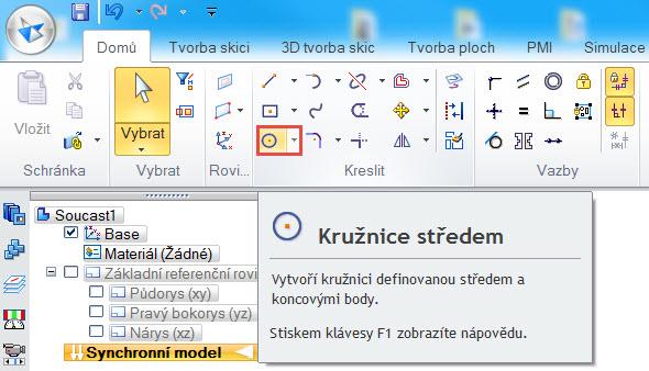 Založte nový dokument dílu a vyberte příkaz Kružnice se středem ze záložky Domů → Kreslit.